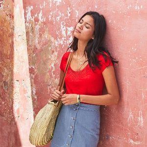🍦HP🍦 Sezane Loly Crochet Neck Linen T-Shirt